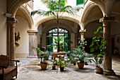 Deserted atrium in the old town of Palma, Mallorca, Balearic Islands, Spain, Europe
