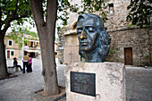 Bust of Frederick Chopin in front of carthusian monastery, Valldemossa, Tramuntana Mountains, Mediterranean Sea, Mallorca, Balearic Islands, Spain, Europe, Europe
