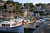 Boats at the landing stage at the harbour of Cala Figuera, Mallorca, Balearic Islands, Mediterranean Sea, Spain, Europe