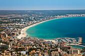 Aerial view of Palma with beach in the sunlight, Palma, Mallorca, Balearic Islands, Mediterranean Sea, Spain, Europe