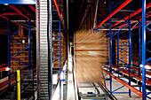 Banana boxes in a high rack warehouse, Hamburg, Germany