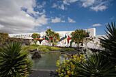 Pond with patio, former residence of artist and architect Cesar Manrique, museum, Fundacion Cesar Manrique, Taro de Tahiche, UNESCO Biosphere Reserve, Lanzarote, Canary Islands, Spain, Europe