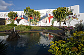 Pond and patio, Mosaik by Cesar Manrique, former residence of artist and architect Cesar Manrique, museum, Fundacion Cesar Manrique, Taro de Tahiche, Lanzarote, Canary Islands, Spain, Europe