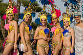Tancers at the carnival parade, Gran Coso de Carnaval, Costa Teguise, Lanzarote, Canary Islands, Spain, Europe