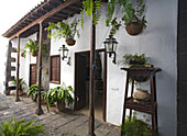 Patio of Casa Museo Palacio Spinola, aristocratic palace, 18th century, restored by architect and artist Cesar Manrique, Teguise, Lanzarote, Canary Islands, Spain, Europe