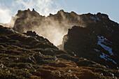 Landscape near Roque de los Muchachos (2426m), view into the giant crater of the extinct volcano, volcanism, Caldera de Taburiente, national park, Parque Nacional Caldera de Taburiente, natural preserve, UNESCO Biosphere Reserve, La Palma, Canary Islands,