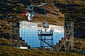 Magic telescope, worlds largest IACT mirror telescope, Imaging Atmospheric Cherenkov Telescope, 17m diameter, Observatorio Astrofisico, astronomy, astrophysics, observatory, Roque de los Muchachos, Caldera de Taburiente, La Palma, Canary Islands, Spain, E