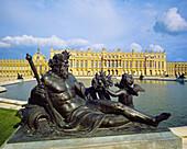 Seine river bronze statue by Etienne Le Hongre (1685-1694),  Northern Basin and garden façade,  Château de Versailles,  France