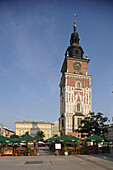 Great Market Square or Main Square, Town Hall Tower, 70m tall,  end of 13th century, Cracow,  Krakow, Poland