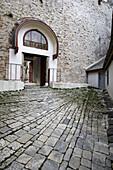 Holy Monastery of Great Lavra, Megiste Lavra, dedicated to Saint Athanasios Athonite, main entrance court yard, Kimisis Theotokou,  Assumption of the Virgin chapel, Athos Peninsula, Mount Athos, Chalkidiki, Greece