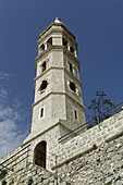 Perast, old town, Church of Our Lady of Rosary, octogonal tower, Kotor Bay, Montenegro