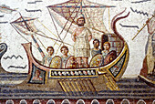 Mosaic depicting Ulysses tied to the mast to prevent himself from succumbing to the sirens temptation (c. AD 260) at Bardo National Museum,  Tunis,  Tunisia