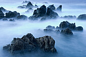 Lava rocks at dusk surrounded by sea water, Porto Moniz, Madeira, Portugal