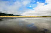 Beach and dunes under clouded sky, Inch, Dingle Peninsula, County Kerry, west coast, Ireland, Europe
