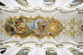 Ceiling fresco, St. Peter church, Munich, Bavaria, Germany