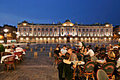 Sidewalk Cafes Under The Arches Across From The Town Hall At Nightfall, Place Du Capitole, Toulouse, Haute-Garonne (31), France