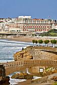Footbridge To Access The Basta Rock, Oceanfront, Grande Plage Beach And Hotel Du Palais, Biarritz, Pyrenees Atlantiques, (64), France, Basque Country, Basque Coast