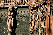 The Central Door, Representation Of Mary Surrounded By Statues Of The Prophets, Has As Its Theme The Passion Of Christ. Scenes From The Old And New Testament Are Represented On The Arches, Strasbourg Cathedral, Strasbourg, Bas-Rhin (67), Alsace, France