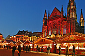 Christmas Market In Front Of The Church St-Etienne Mulhouse, Place De La Reunion, Haut-Rhin (68), Alsace, France