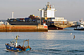 Trawler Entering The Port In Front Of A Container Ship, Commercial Port, Le Havre, Seine-Maritime (76), Normandy, France