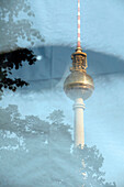 Reflection Of The Television Tower On An Advertising Sign, Fernsehturm, Berlin, Germany