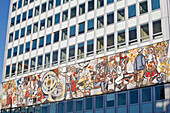 House Of Teachers, Haus Des Lehrers, It Houses Since 1964 The Gigantic Frieze By Walter Womacka. Inspired By Mexican Murals, The Mosaic, 7M High And 125M Long, Exhibits The Virtues Of Education, Berlin, Germany