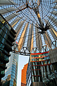 Sony Plaza, Sony Center, Potsdamer Platz, Canopy Conceived By The German-American Helmut Jahn Between 1996 And 2000, The Glass Roof Of The Building Adorns Itself In The Colours Of The Rainbow At Nightfall This Cupola Tops A Forum, A Veritable Square In Th