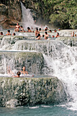 Del Gorello Cascades, Thermal Water Spring (37 Degrees Celsius), Natural Baths Or Calcareous Basins In Cascades Hollowed Out In The Tufa Used Since Roman Times For Body Care, Thermal Baths Of Saturnia, Tuscany, Italy