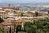 Village Of Montalcino, Known For Its Appellation Brunello Viticulture And Its Montalcino Red, Tuscany, Italy