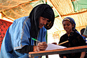 Classroom Of Nomad Children. Association For The Development Of Nomad Life In The Zagora Region, Berber People, Morocco, Maghrib, North Africa