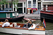 Romantic Ride On A Barge On The Canals, Raamgracht, Amsterdam, Netherlands