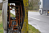 Fire Of A Speed Radar (Anti-Radar Vandalism) On The National Route 13 In A Place Called Caillouet Between Pacy-Sur-Eure Et Evreux (27), France