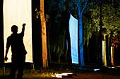 At Nightfall, The Poplar Grove Bordering An Immense Ornamental Pond Adorns Itself In Blocks Of Coloured Light, Euroland, Art, First European Festival Of Life-Size Art On The Wheat Route In Beauce, Eure Et Loir (28), France