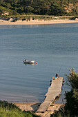Pleasure Boat And Fisherman On A Pontoon, Mouth Of The Rio Mira, Vila Nova Das Milfontes, Alentejo, Portugal