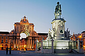 Statue Of Dom Joao I, Praca Do Comercio, Commerce Square At Night, Baixa District, Lisbon, Portugal, Europe