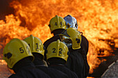 Firefighters In Action For Training Exercise In Hydrocarbon Fire Extinguishing, Gesip, Vernon, Eure (27), France