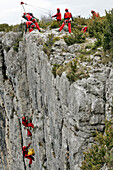 Firefighters In Action For Evacuation Of A Victim Of A Rock-Climbing Accident With A Mat Konk And Winch, Cliff Rescue In The Gorges Of The Verdon With The Search And Intervention In Dangerous Places Group Of The Var Fire Department, Les Cavaliers, Var (83