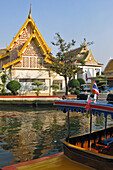 Temples On The Banks Of The Klongs, Small Canals, Bangkok, Thailand