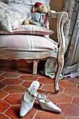 The Bride'S Shoes Next To An Armchair, Preparations For The Wedding, France