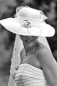 Bride In Gown And Hat On The Day Of Her Wedding, France