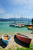 Landing stage with boats, lake Forggensee, Ammergau Alps, East Allgaeu, Bavaria, Germany