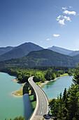 Bridge crossing reservoir Sylvensteinsee, Karwendel range, Upper Bavaria, Bavaria, Germany