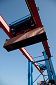 Gantry crane with container, Port of Hamburg, Germany