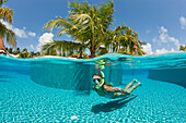 Woman in Swimming Pool, Maldives, South Male Atoll