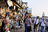 People in front of a stall with gingerbread hearts, Oktoberfest, Munich, Bavaria, Germany, Europe