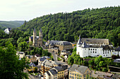 View at church and castle, Clervaux, Ardennen, Luxembourg, Europe