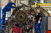 MTU Aero Engines, maintenance of a jet engine, Langenhagen, Lower saxony, Germany