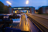 evening shot of inland vesse, Hindenburg locks, Anderten, Hannover, Lower Saxony, northern Germany