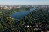 aerial view of tree lined Machsee Lake in Hannover, Town Hall, Lower Saxony, northern Germany