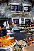Ski hut, Alpetta Restaurant, Corvatsch, Sankt Moritz, Grisons, Switzerland